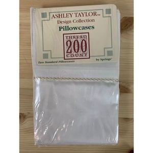 New white pillow cases w/ gold cord accent std sz